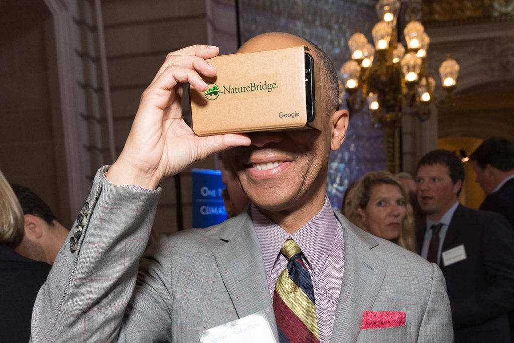 Ken McNeely, President of AT&T California, virtually visits one of  NatureBridge's campuses via Google Cardboard