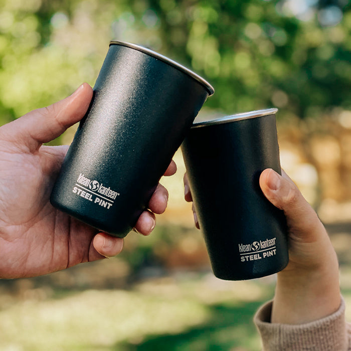 Matte Black Steel Pint Cups