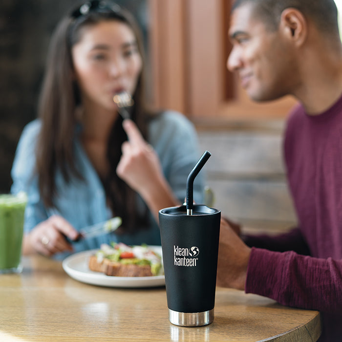 Black Tumbler Cup with Straw