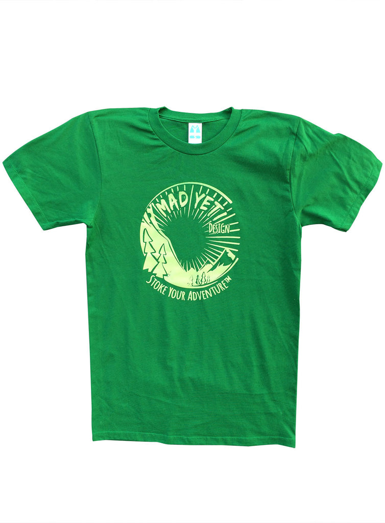 Tunnel vision mountain graphic t-shirt, green/green