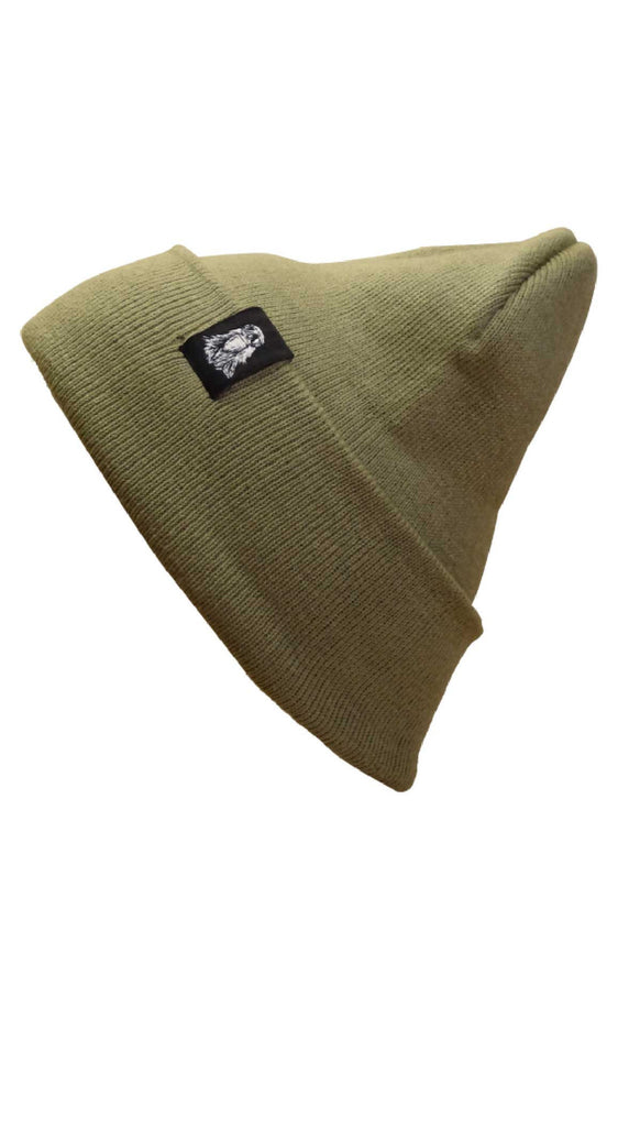 Sage Cuffed Beanie with woven hem tag
