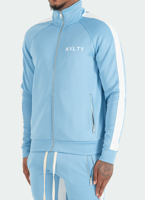 Panelled Track Jacket - Baby Blue/White