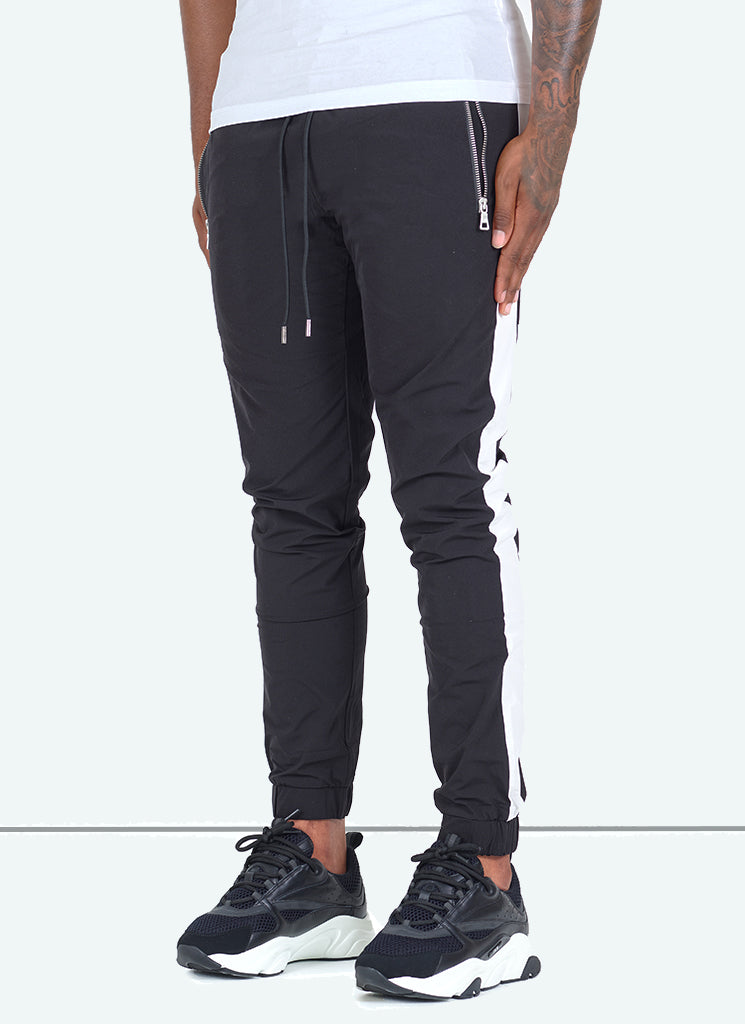 Panelled Shell Track Pants - Black/White
