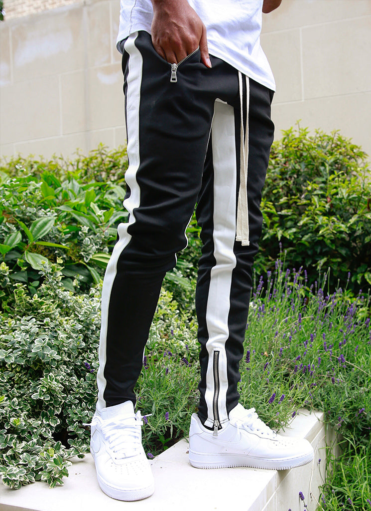 Panelled Track Pants - Black/White
