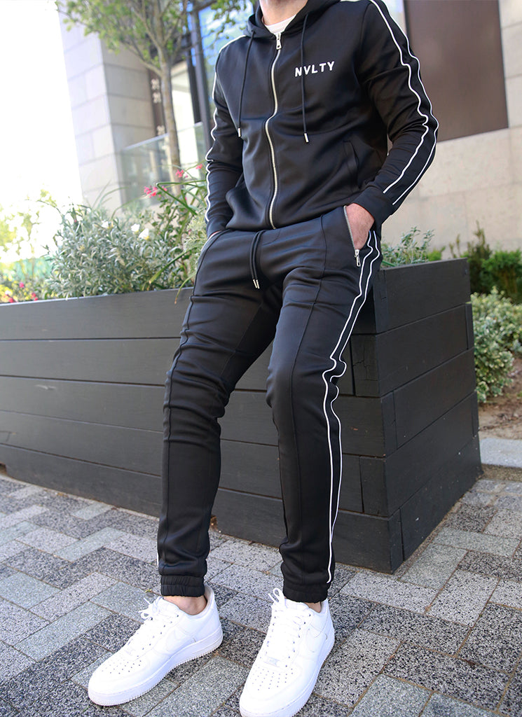 Panelled Pipe Track Hoodie - Black/White