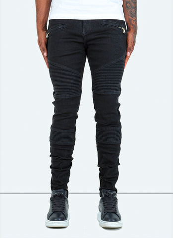 Panelled Track Jeans - Mid Blue/White