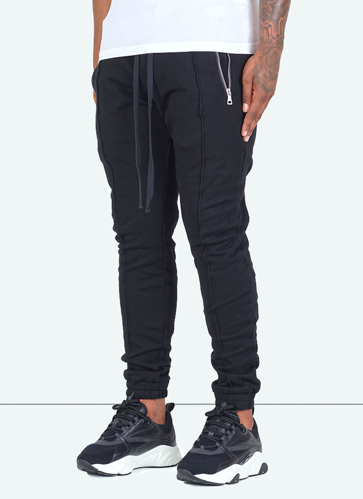 Pleated Track Pants - Black