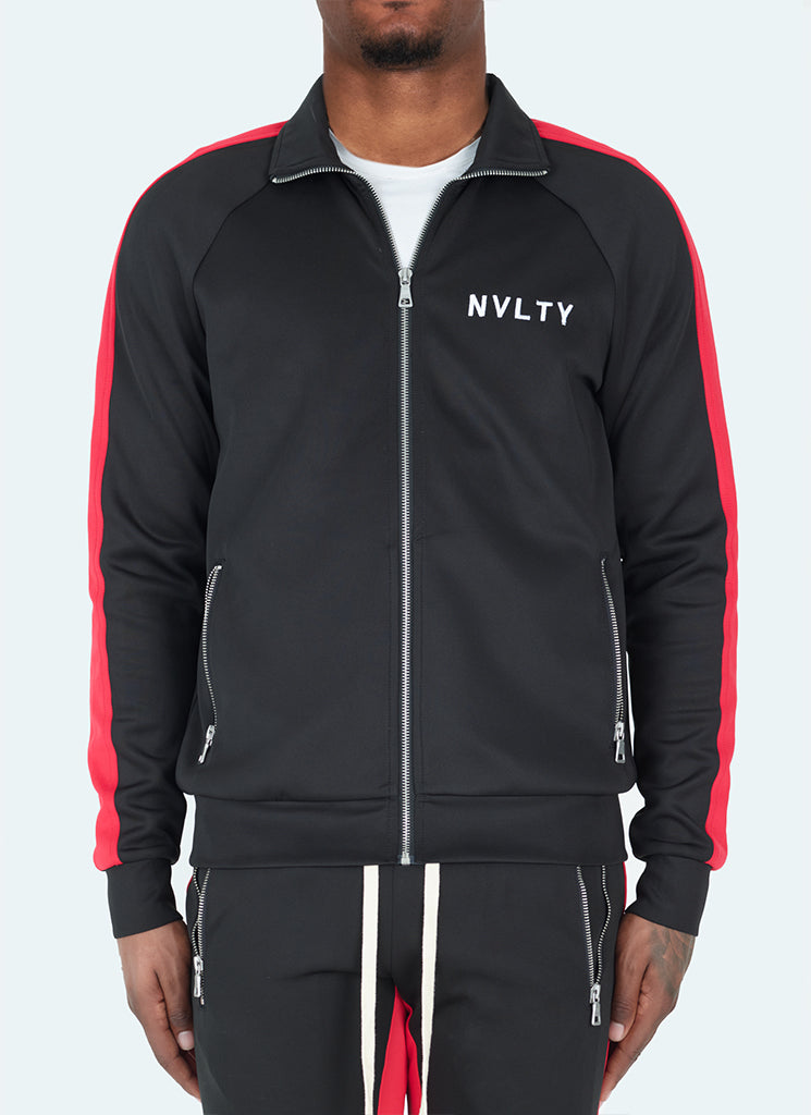 Panelled Track Jacket - Black/Red