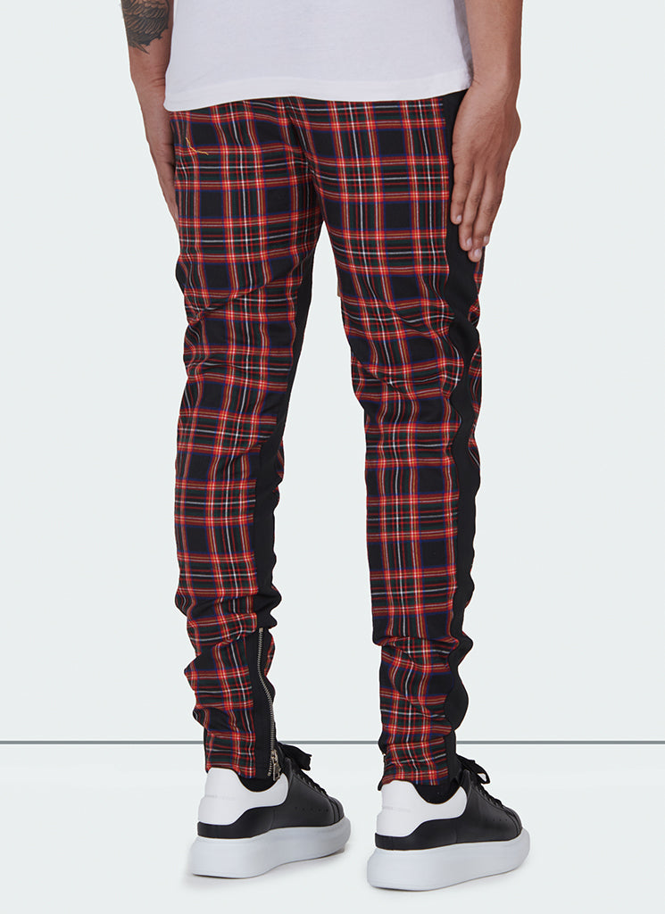 Panelled Track Pants - Black Tartan