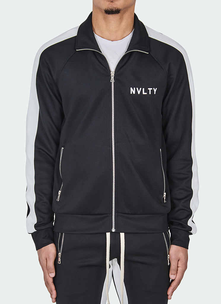 Panelled Track Jacket - Black/White