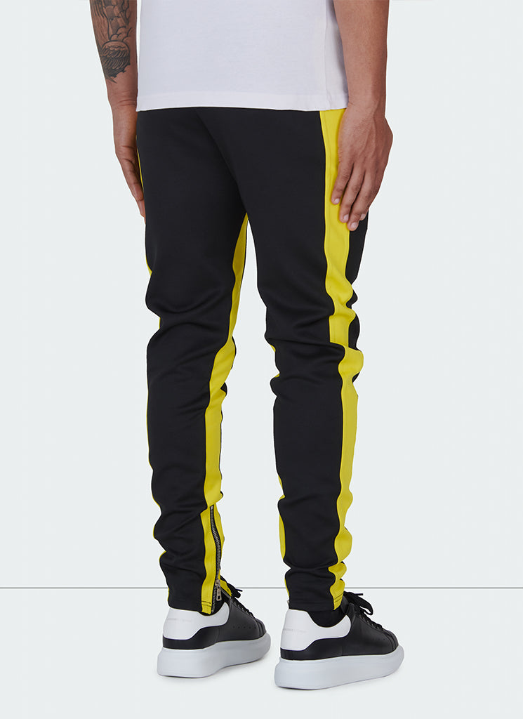 Panelled Track Pants - Black/Yellow