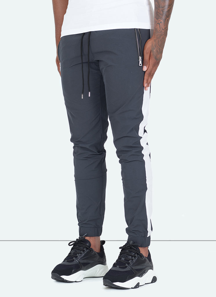 Panelled Shell Track Pants - Charcoal Grey/White