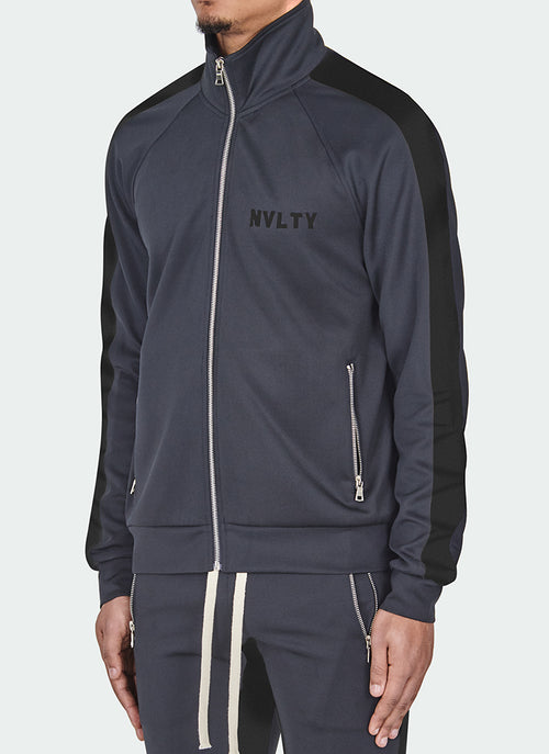 Panelled Track Jacket - Charcoal Grey/Black