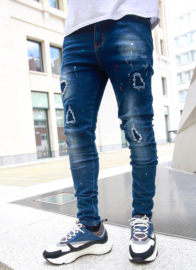 Patchwork Paint Jeans - Dark Blue