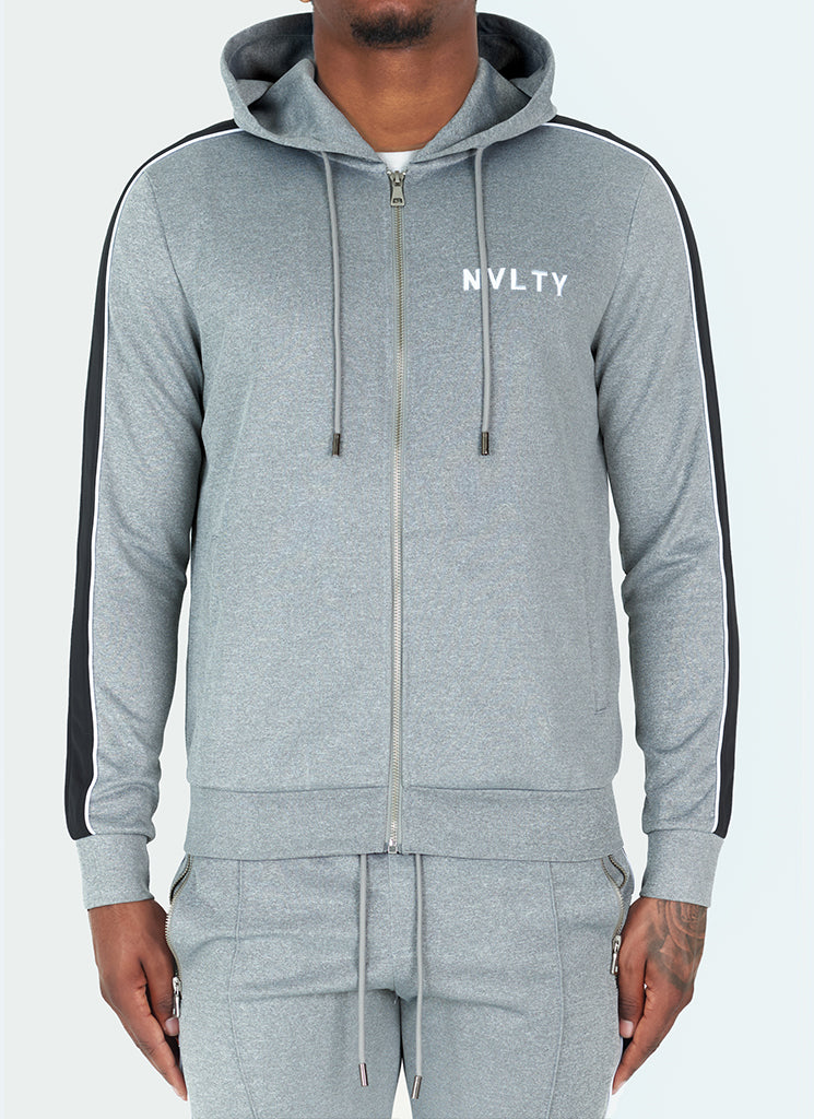 Panelled Pipe Track Hoodie - Grey/Black