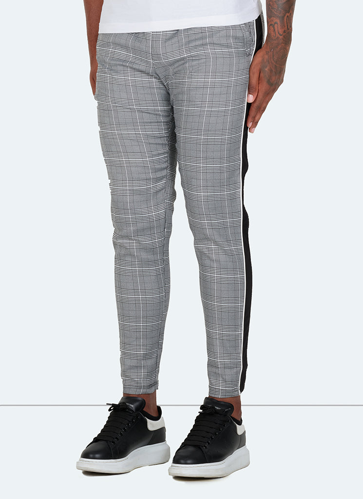 Panelled Pipe Trousers - Grey Checked