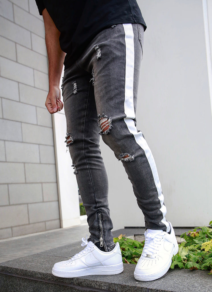 Panelled Track Jeans - Grey/White