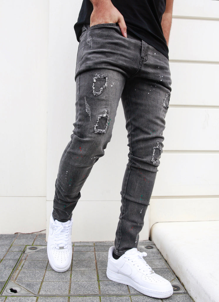 Patchwork Paint Jeans - Grey