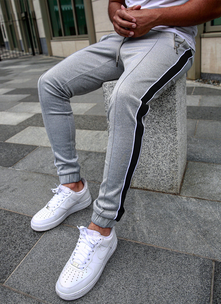 Panelled Pipe Track Pants - Grey/Black