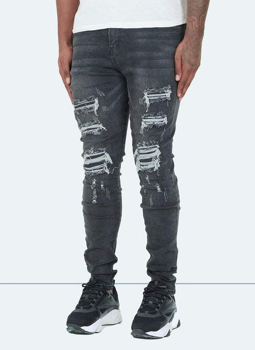 Ripped & Repaired Jeans - Grey