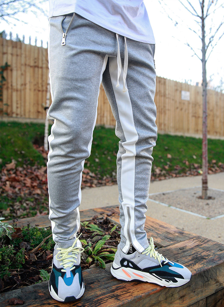 Panelled Track Pants - Grey/White