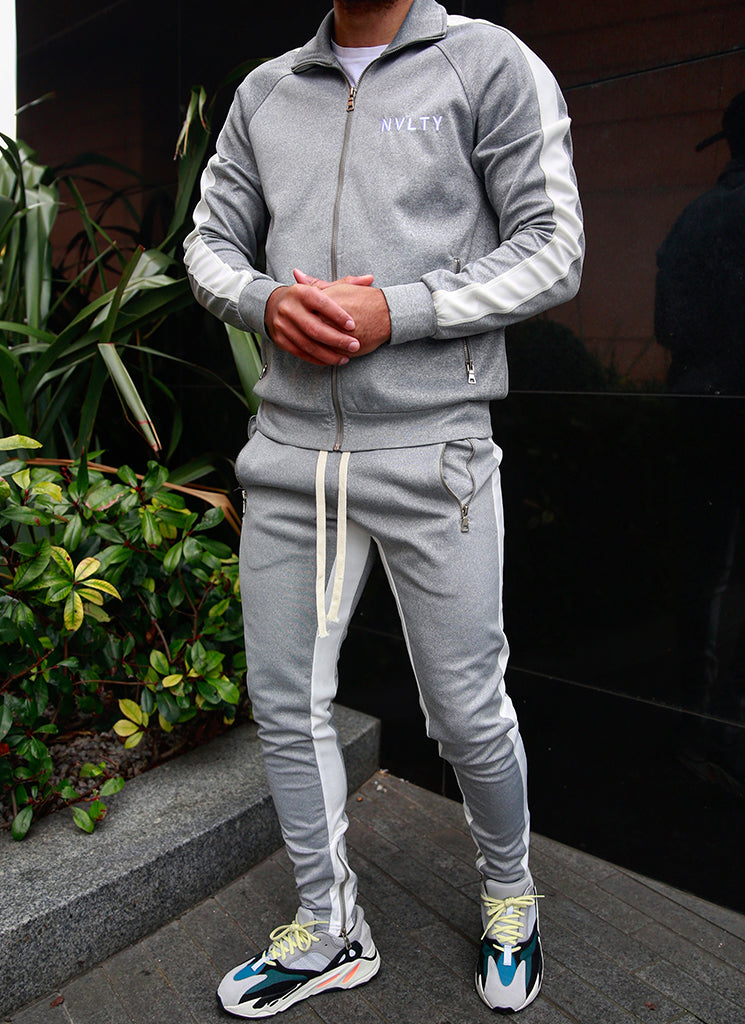 Panelled Track Jacket - Grey/White