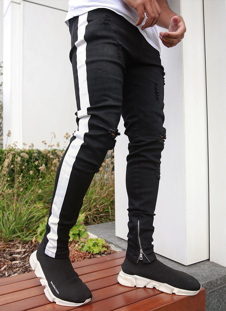 Panelled Track Jeans - Black/White