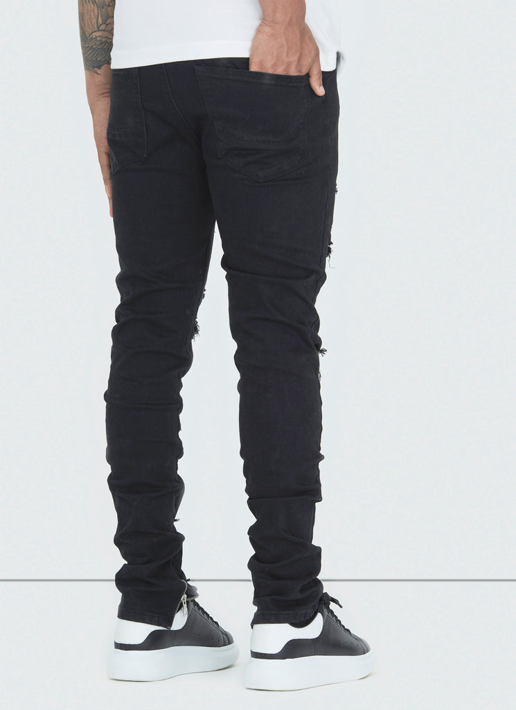 Destroyed Zip Jeans - Black