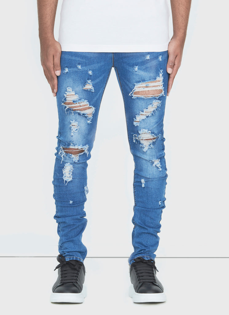 Destroyed Zip Jeans - Mid Blue