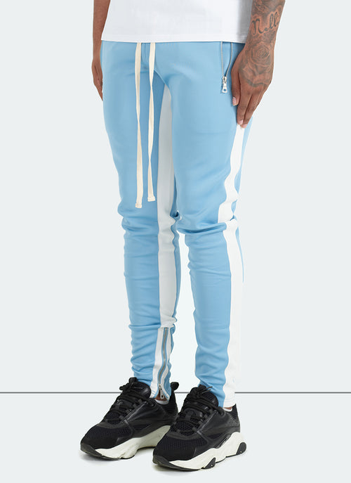 Panelled Track Pants - Baby Blue/White