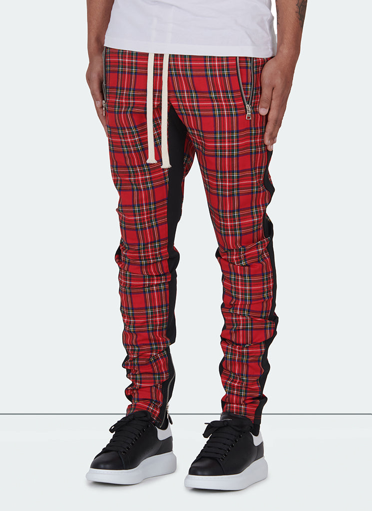 Panelled Track Pants - Red Tartan