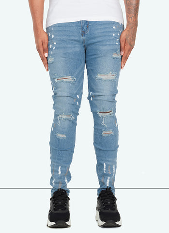 Destroyed Paint Jeans - Black