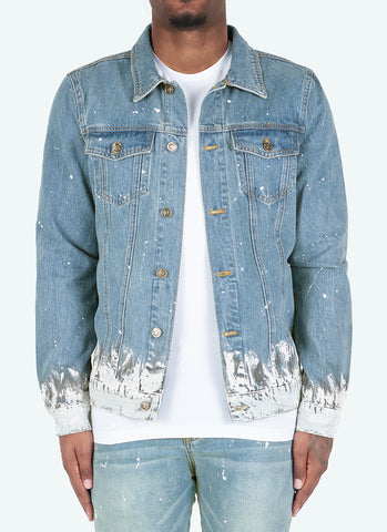 Paint Puffer Jacket - Baby Blue