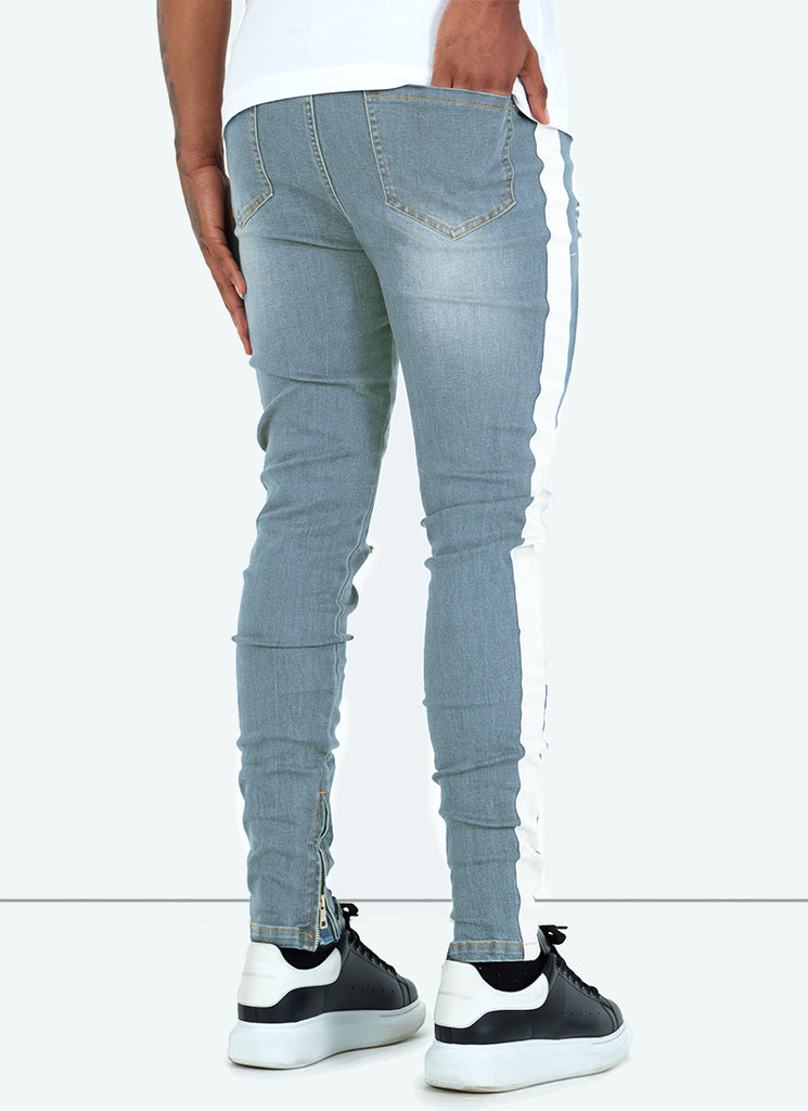 Panelled Track Jeans - Sand Blue/White