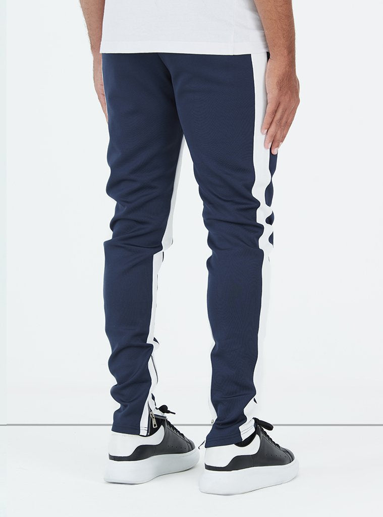 Panelled Track Pants - Navy/White
