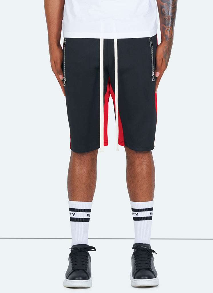 Panelled Track Shorts - Black/Red