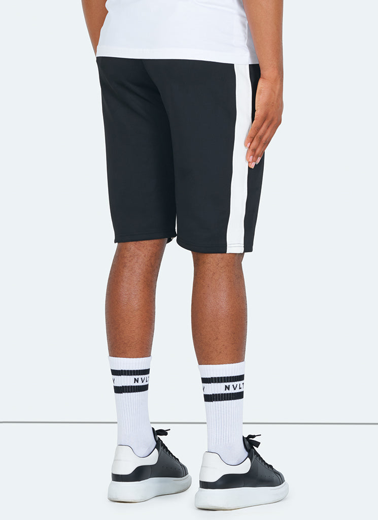 Panelled Track Shorts - Black/White