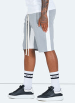 Panelled Track Shorts - Grey/White