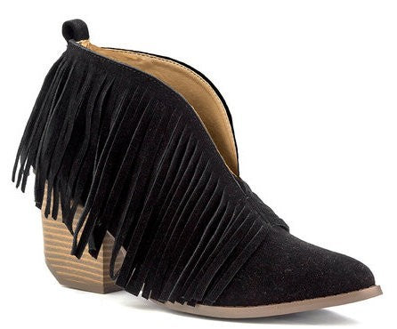 Black Fringe Booties