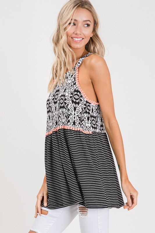 tayabella boutique/ flowy tank, black and white stripes, cute boutique tank