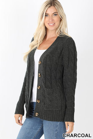 Cable Knit Cardigan Charcoal