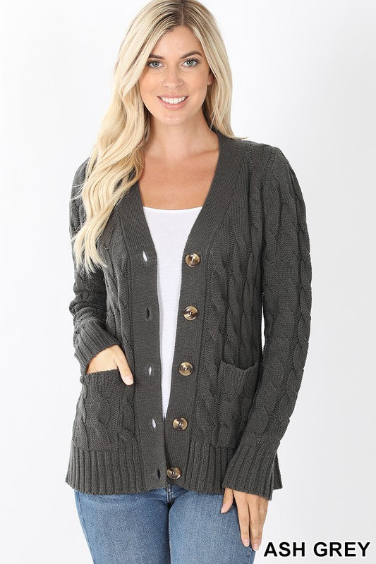 Cable Knit Cardigan Ash Grey