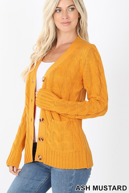 Cable Knit Cardigan Mustard