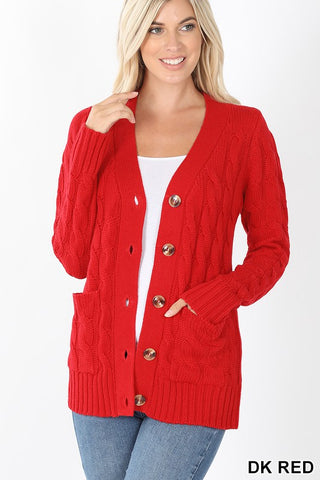 Cable Knit Cardigan Dark Red