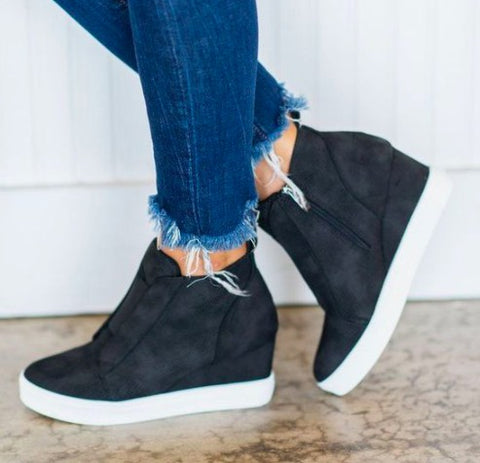 Black Wedge Sneaker