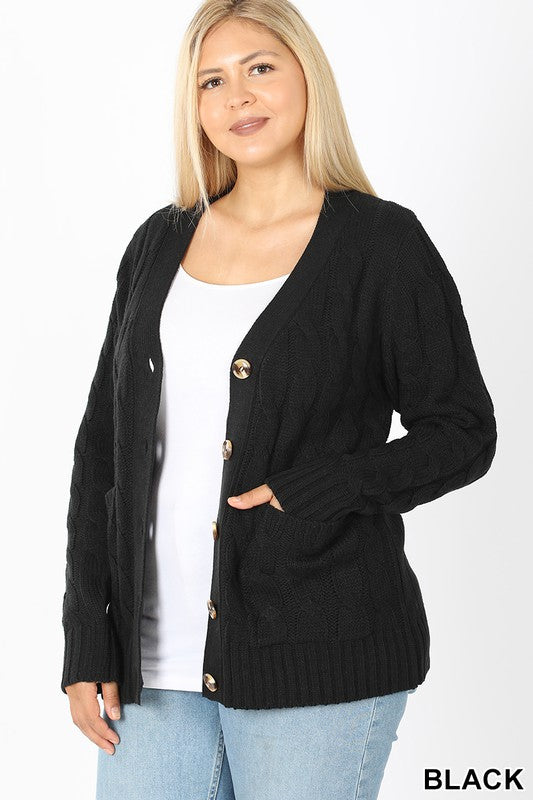 Cable Knit Cardigan Black (curvy)
