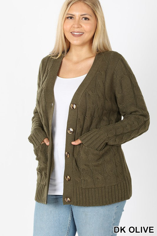 Cable Knit Cardigan Olive (curvy)