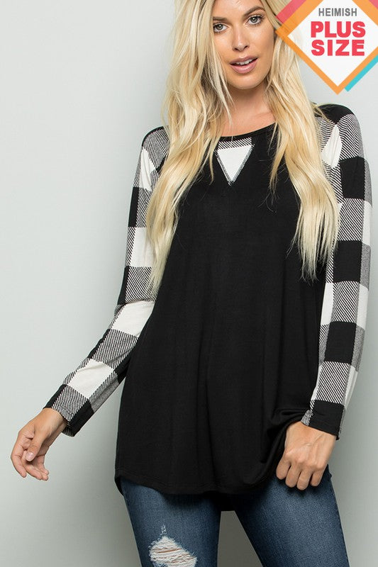Buffalo Plaid Jersey Top (curvy)