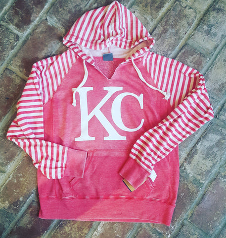Striped KC Hoodie RED