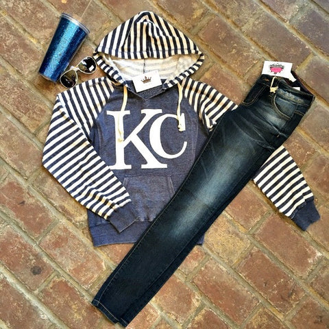 Striped KC Hoodie BLUE